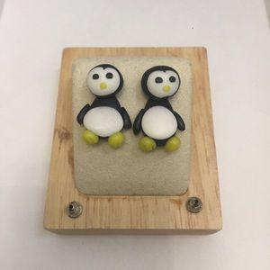 3D Polymer Clay Penguin Earrings (Yellow)